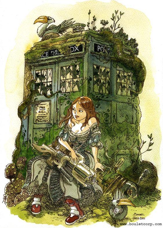 Le Tardis par Boulet en hommage à Doctor Who hommage boulet doctor who tardis geek design bonus