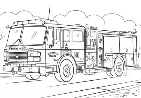 Fire Truck Coloring Page In Emergency Vehicle Coloring Pages