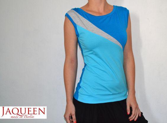 Tops - Top asymetrisch blau türkis hellgau - ein Designerstück von JAQUEEN-handmade-streetwear-berlin bei DaWanda