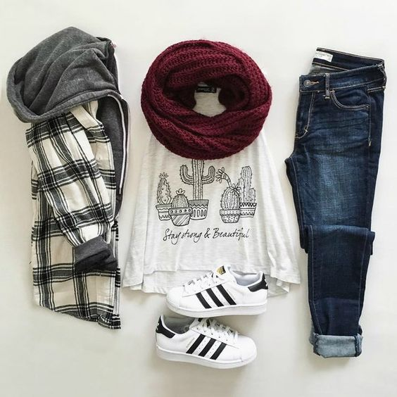 Black and white flannel hooded jacket, cotton t-shirt, knitted scarf, blue jeans and Adidas black and white sneakers - http://ninjacosmico.com/17-hipster-outfits-try-spring/: