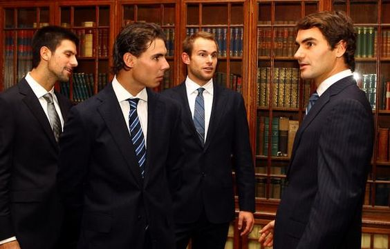 What I wouldnt give to be in that room!! (Roger Federer, Rafael Nadal, Andy Roddick, Novak Djokovic)