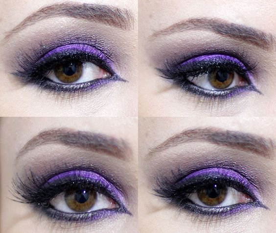 tutorial de maquiagem olhos esfumados com cor, preto e roxo facil e lindo