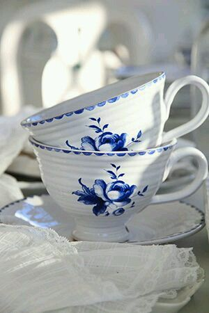 Folksy blue and white tea cups