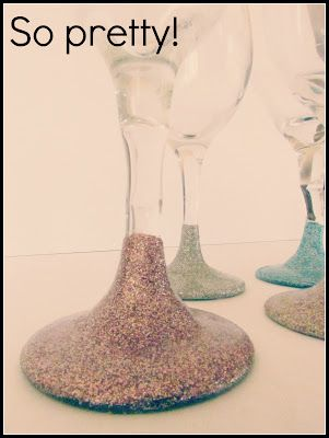 Add some glitter to the bottoms of your drinking glasses!