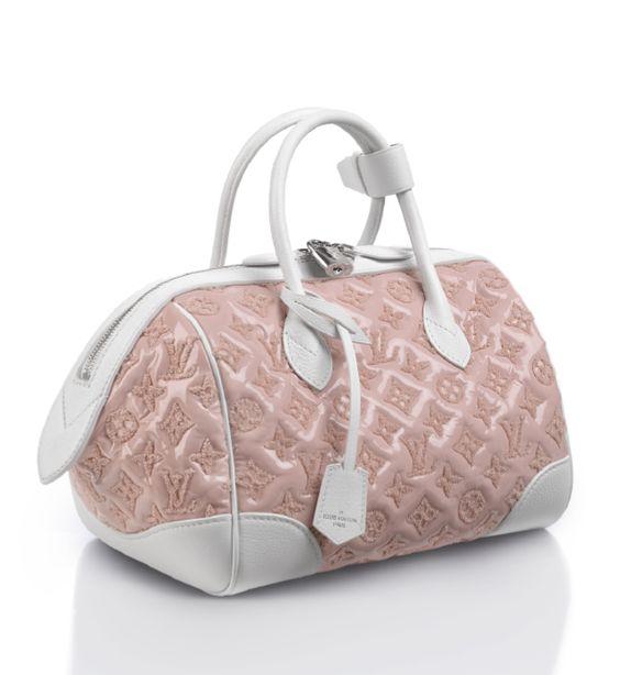 Louis Vuitton, rose bouclette on patent lambskin handbag, 4200.00. Select Bloomingdale's stores.