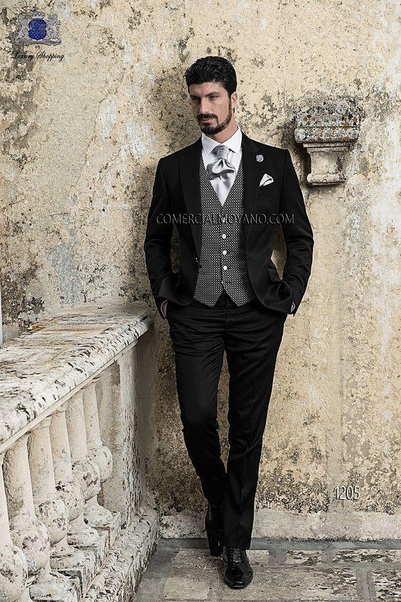 Traje de novio recto italiano a medida, satén negro, chaleco microdiseño negro, modelo 1205 Ottavio Nuccio Gala colección Gentleman 2015.