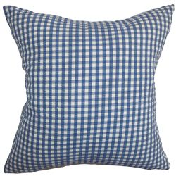"""A classic plaid pattern in shades of denim blue and white bedecks this accent pillow. This decor pillow will surely bring a personality to your interiors. Add an edgy twist to your sofa, bed or couch with this sleek looking square pillow. Blend in other patterns like stripes and zigzags for a more fun decor style. This 18"""" pillow is made of 100% high-quality cotton fabric. $55.00  #plaid #tosspillow #blue #homedecor"""