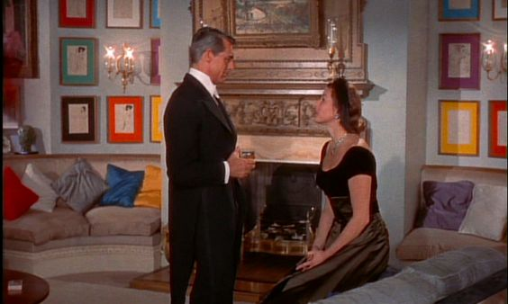 """Beautifully decorated London apartment in the movie """"Indiscreet"""" (1958, dir. Stanley Donen) starring Cary Grant and Ingrid Bergman."""