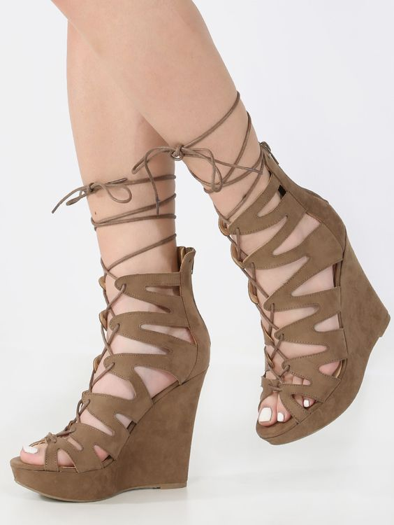 Caged Lace Up Wedge Heels TAUPE | MakeMeChic.COM | Night, The o ...