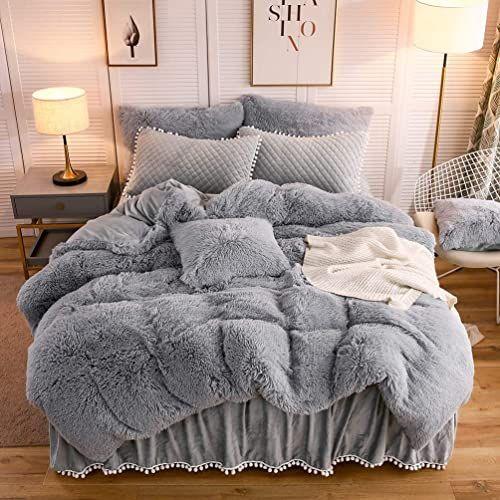 The Liferevo Luxury Plush Shaggy Duvet Cover Set 1 Faux Fur Duvet Cover 2 Pompoms Fringe Pillow Shams Solid Zipper Closure Queen Gray Online Shopping In 2020 Duvet Cover Sets