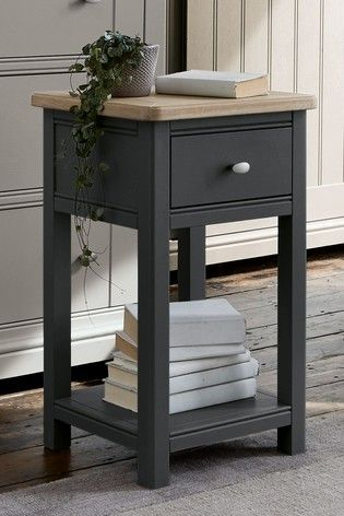 Buy Hampton Slim 1 Drawer Bedside Table From The Next Uk Online Shop Charcoal Bedside Table Small Bedside Table Bedside Table Diy