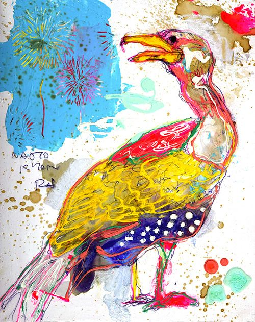 Naoto Kitamura 13676 いつも花火はその時の気持ちで見え方が違うもんさ 鵜 鳥のアート ペインティング アートのアイデア
