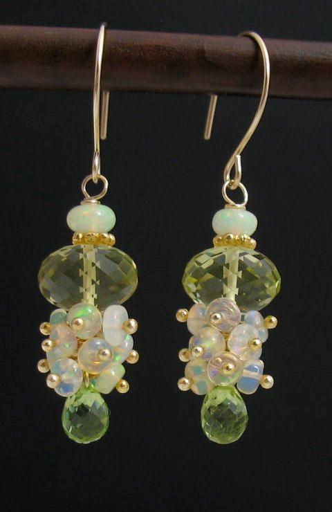Handmade Ethiopan Opal, Peridot, Limon Quartz, Gemstone Cluster Earrings, 14k Goldfilled, Yellow, Green