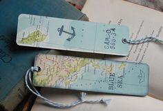 Shabby 2 Lesezeichen alte Landkarten von Lunas VintageART auf DaWanda.com