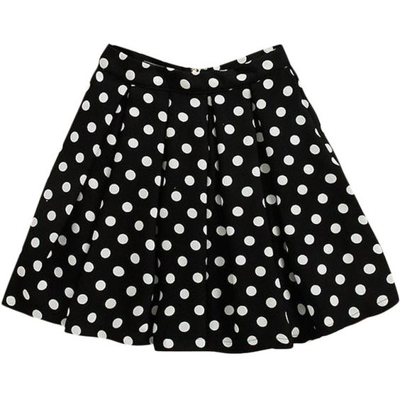 Polka-dots Print Zipped Bubble Skirt ($26) ❤ liked on Polyvore featuring skirts, bottoms, faldas, blackfive, polka dot skirt, black polka dot skirt, black knee length skirt, zip skirt and black bubble skirt