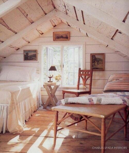 Attic bedrooms knee walls and bedrooms on pinterest - The rustic attic ...