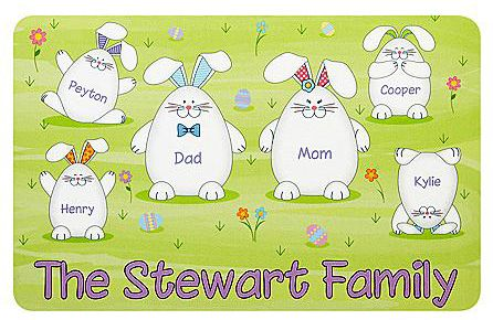 Personalized Bunny Family Doormat: We-Care.com will donate a portion of every purchase through this link to charity!