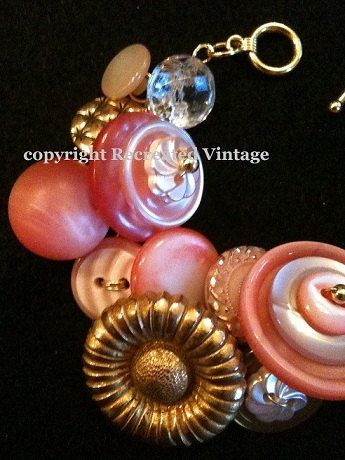 The perfect pink and gold vintage button by RecreatedTXVintage, $32.50