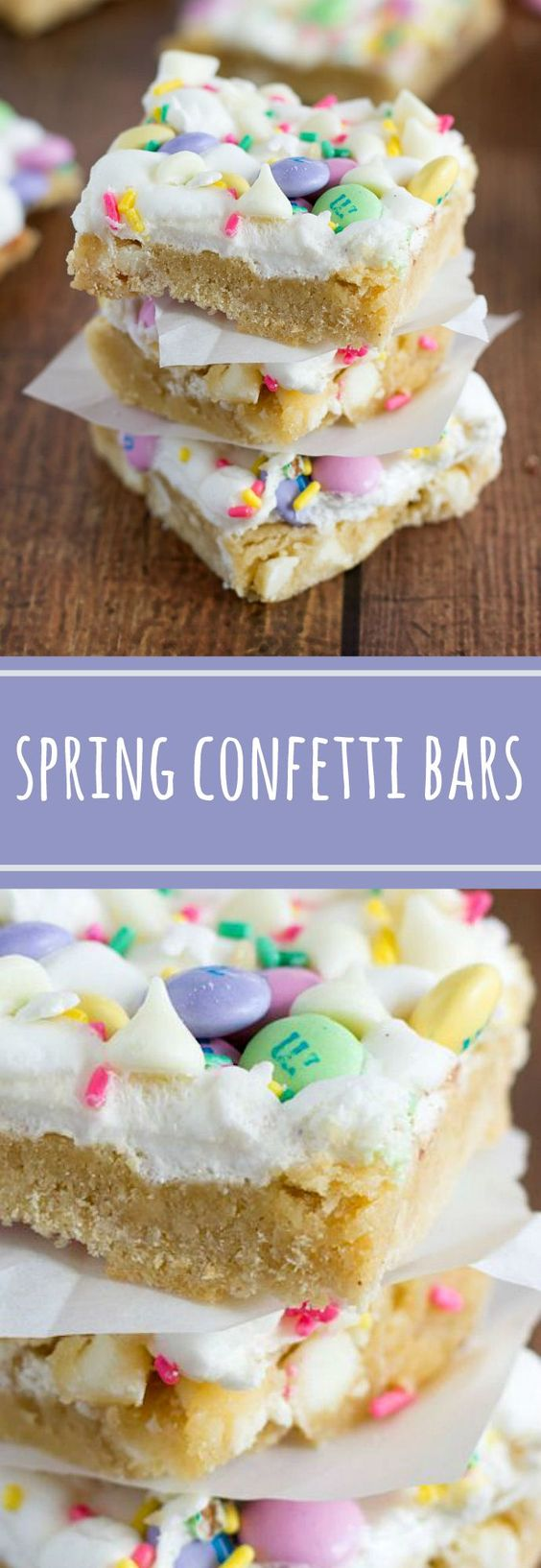 Spring Confetti Bars Dessert Recipe via Chelsea's Messy Apron - Confetti bars made with Spring colored M&M's, white chocolate, Spring sprinkles, and gooey marshmallows. #dessertbars #cookiebars #barsrecipes #dessertforacrowd #partydesserts #christmasdesserts #holidaydesserts #onepandesserts