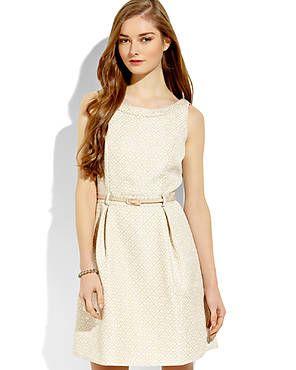 Graduation?? YUMI Belted Jacquard Dress