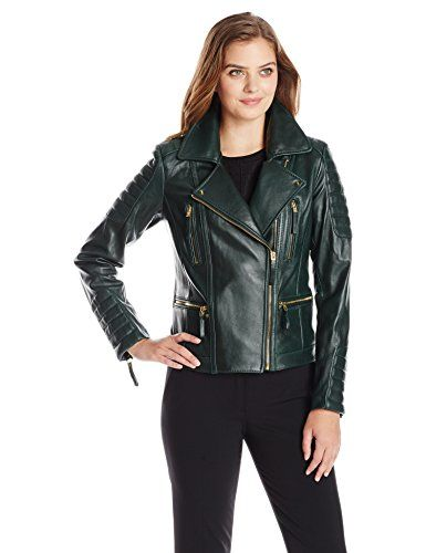 Vince Camuto Women's Leather Moto Jacket, Hunter Green - http ...
