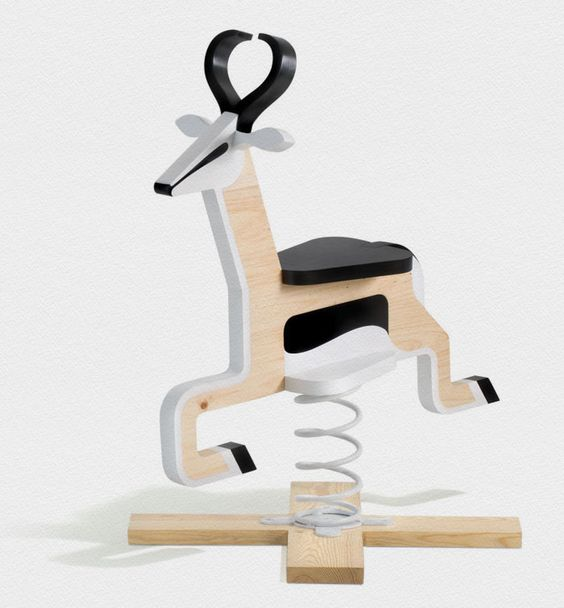 Springbuck Ride-On Toy (Rocking Horse) by Justin Plunkett. Wooden ride-on Springbok mounted on base with large spring for hours of bouncing fun.
