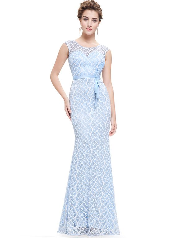 The dress is featuring lace croceht, round neck, keyhole back, bow waist and slim fit design.