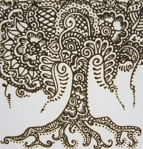 henna tree in henna paste on 12 x 12 canvas ready to hang. Black Bedroom Furniture Sets. Home Design Ideas