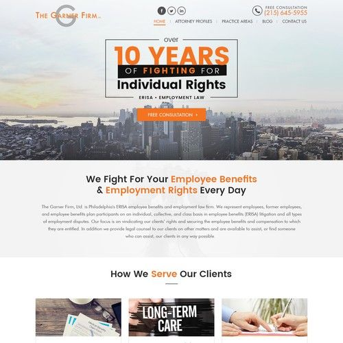 Landing Page The Garner Firm Ltd Our Website Is Used To Reach Potential Clients Inform Them Of Our Services And Why The Landing Page Web Layout Web Design