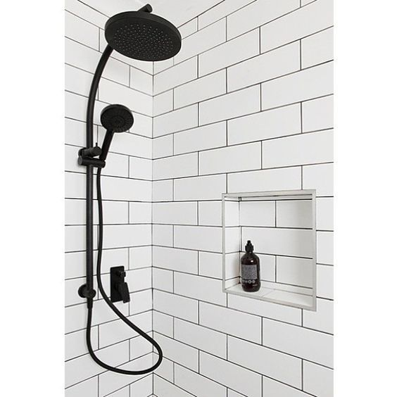 Matte Black Shower Head And Hand Shower Unit Matte Black Tap And Mixer White Subway Tiled Walls With Niche Project By Ph Shower Black Shower Shower Units