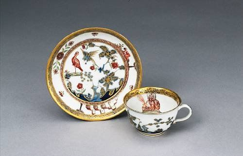 A Meissen Hausmaler cup and saucer circa 1740-50