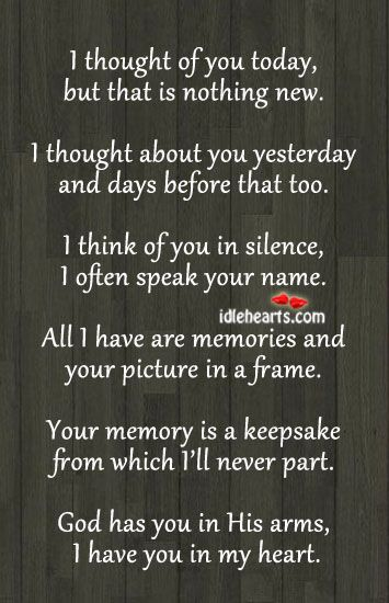 This poem along with a picture would make a nice gift to somebody who lost a close someone.