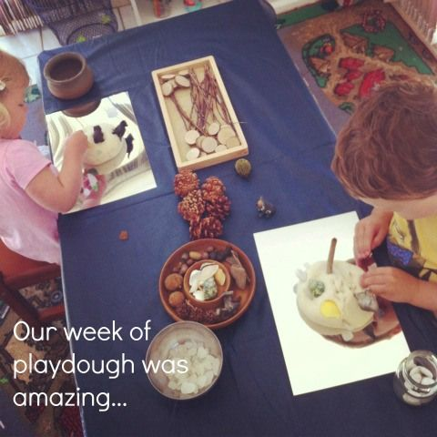 {from An Everyday Story} An acrylic mirror and plaudough: Playdough exploration with natural materials.