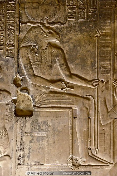 Khnum -- was one of the earliest Egyptian deities, originally the god of the source of the Nile River__he was thought to be the creator of the bodies of human children, which he made at a potter's wheel, from clay, and placed in their mothers' wombs. He later was described as having moulded the other deities. ((picture by Alfred Molon))