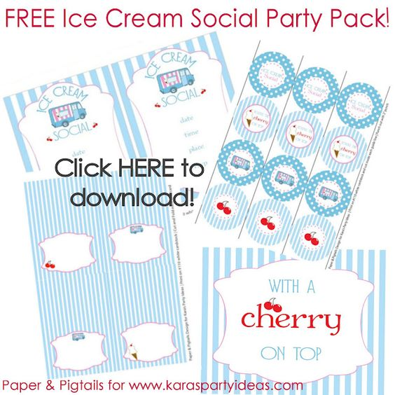 FREE Ice Cream Party Downloads/Printables...tags, invitation, cupcake toppers, signs & more! Found on Kara's Party Ideas.