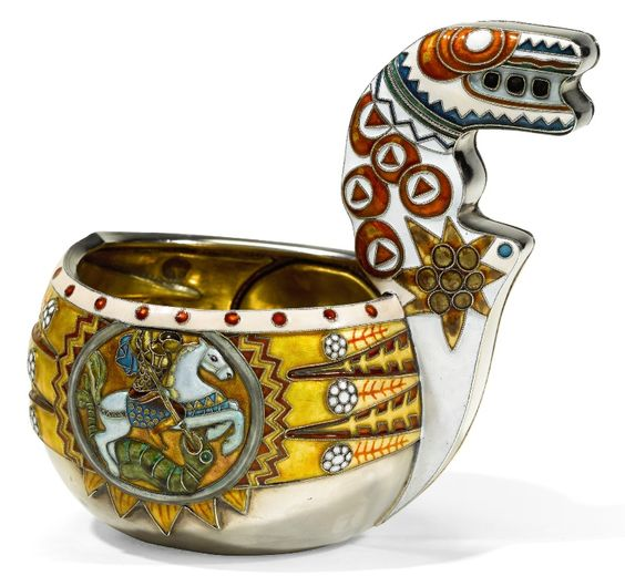 A silver and cloisonné enamel kovsh, Moscow, 1908-1917