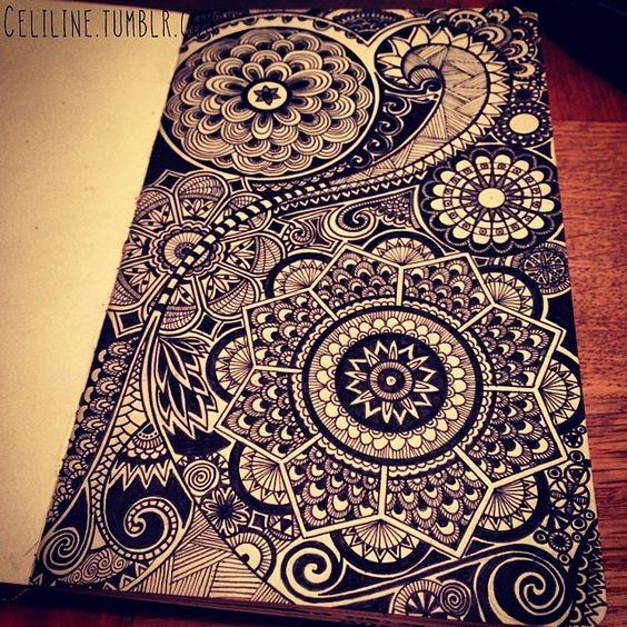 DETAILS Zentangle Doodle Drawing Moleskine Posca