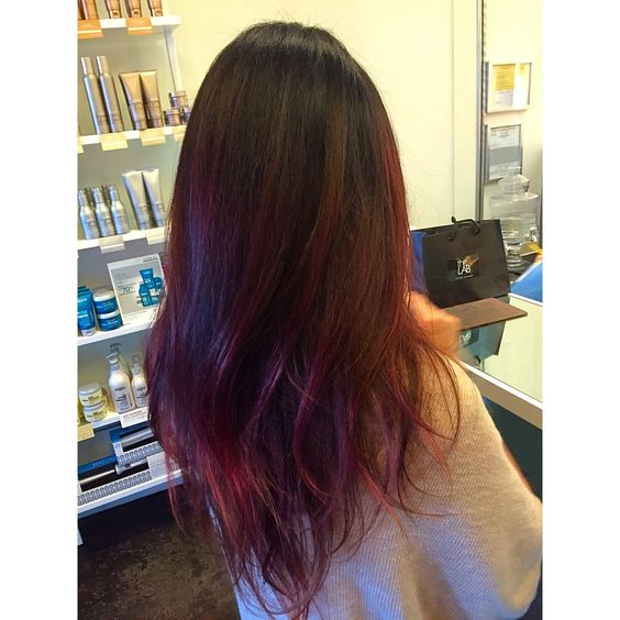Red plum balayage, red ombre, vivid red plum hair, long layers, lived