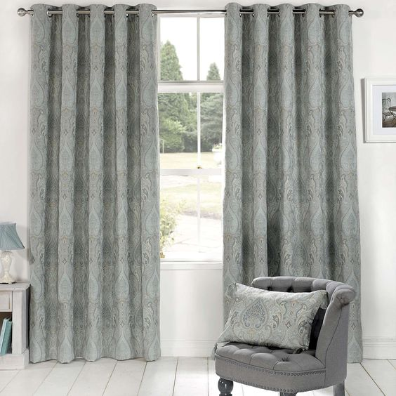 Novello Duck-Egg Lined Eyelet Curtains   Dunelm   The Bungalow ...