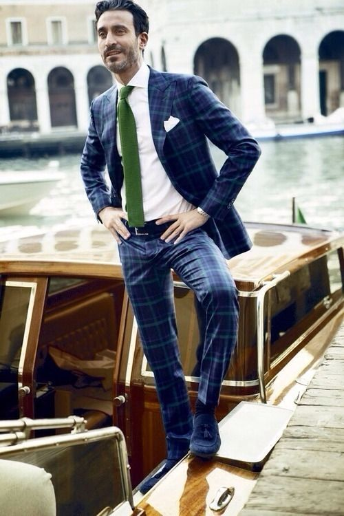 Dark blue plaid suit with green knit tie