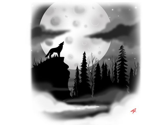 Wolf howling, White tattoos and Full moon on Pinterest
