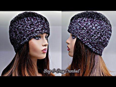 How To Crochet A Hat Unisex Beanie Hat Bag O Day Crochet Tutorial 556 Youtube Easy Crochet Beanie Diy Crochet Hat Crochet Tutorial