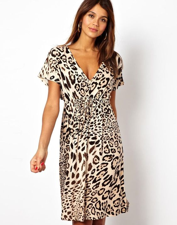 Grecian Summer Dress In Animal Print