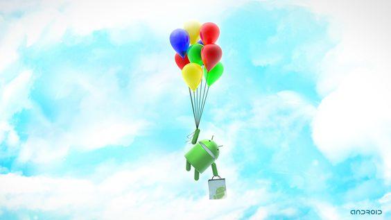 風船で空を飛ぶドロイド君の壁紙