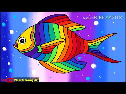 Draw Rainbow Fish Easy Colourful Fish Drawing Youtube In 2020 Fish Drawings Colorful Fish Drawn Fish