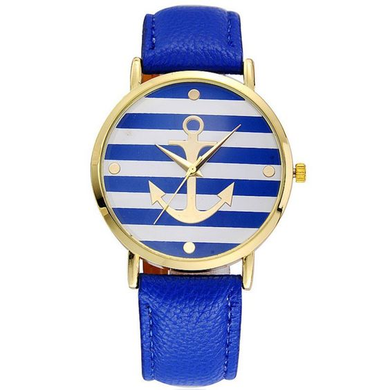 $1.98 (Buy here: http://appdeal.ru/3wqd ) Women Relojes Anchor Striped Analog Quartz Relogio PU Leather Strap Sport Wrist Watches for just $1.98