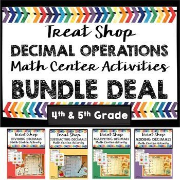 Great savings of four great math centers that help your students practice decimal operations!  Adding decimals, subtracting decimals, multiplying decimals, and dividing decimals math centers included.  Cute treat shop cards are fun and motivating for students!