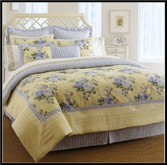 Laura Ashley CAROLINE Comforter Set - 4 pcs Yellow & Blue Floral - KING   *NEW* #LauraAshley #Cottage