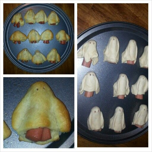 Ghosts!   Halloween finger food! Pillsbury and hotdogs!