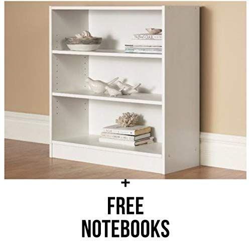 Mainstays 3 Shelf Bookcase Wide Bookshelf Storage Wood Furniture 1 Fixed Shelf 2 Adjustable Shelves Bo 3